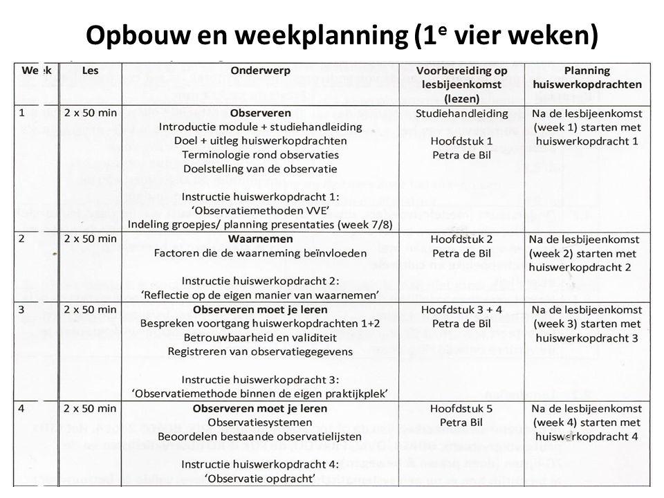 Opbouw en weekplanning (1 e vier weken)