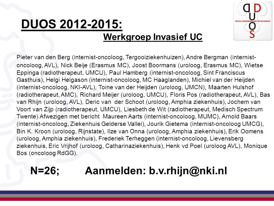 DUOS 2012-2015: Werkgroep Invasief UC Pieter van den Berg (internist-oncoloog, Tergooiziekenhuizen), Andre Bergman (internist- oncoloog, AVL), Nick Be