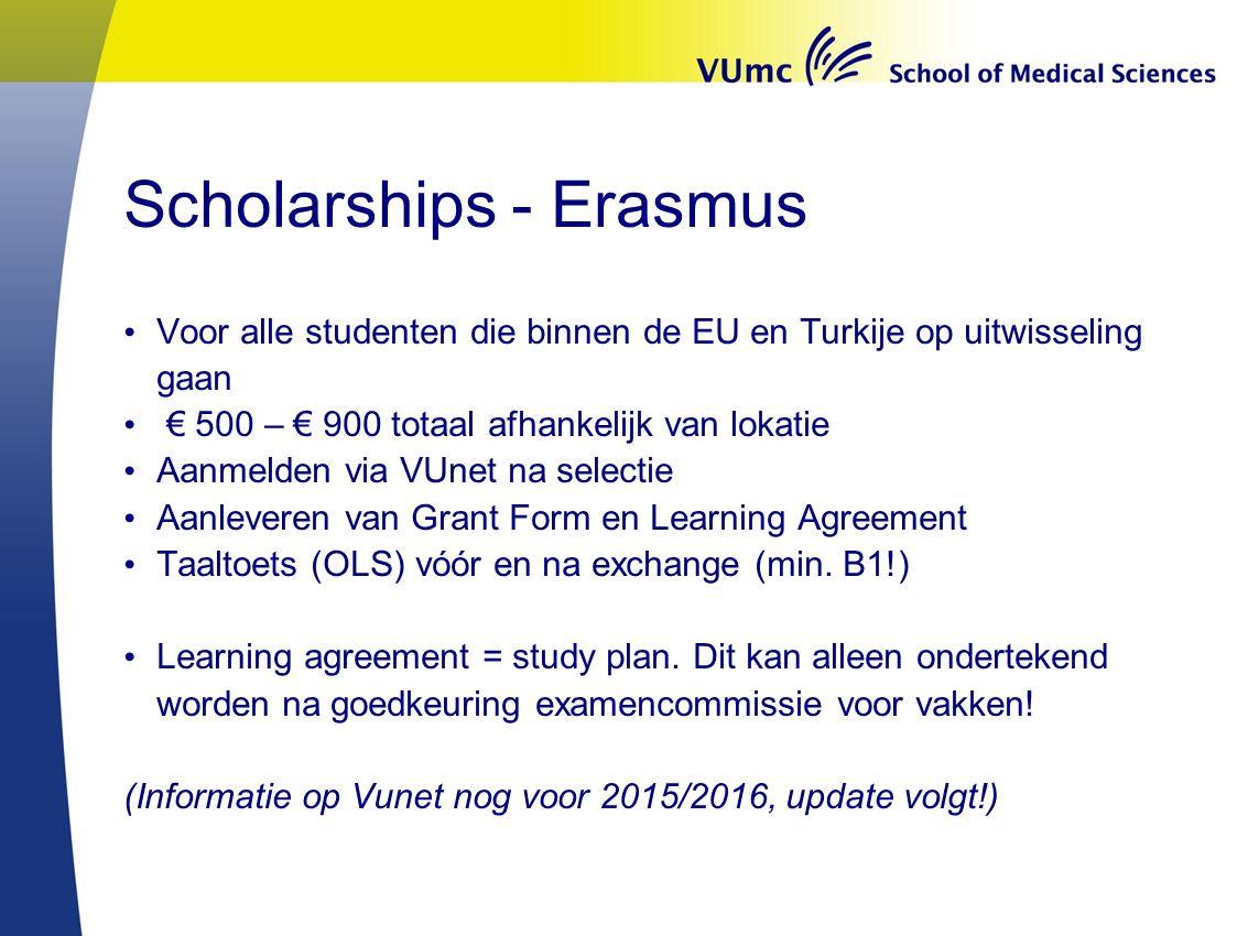 Scholarships - Erasmus Voor alle studenten die binnen de EU en Turkije op uitwisseling gaan € 500 – € 900 totaal afhankelijk van lokatie Aanmelden via