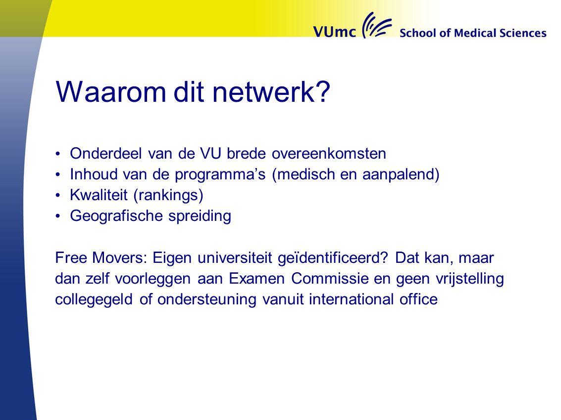 Waarom dit netwerk? Onderdeel van de VU brede overeenkomsten Inhoud van de programma's (medisch en aanpalend) Kwaliteit (rankings) Geografische spreid