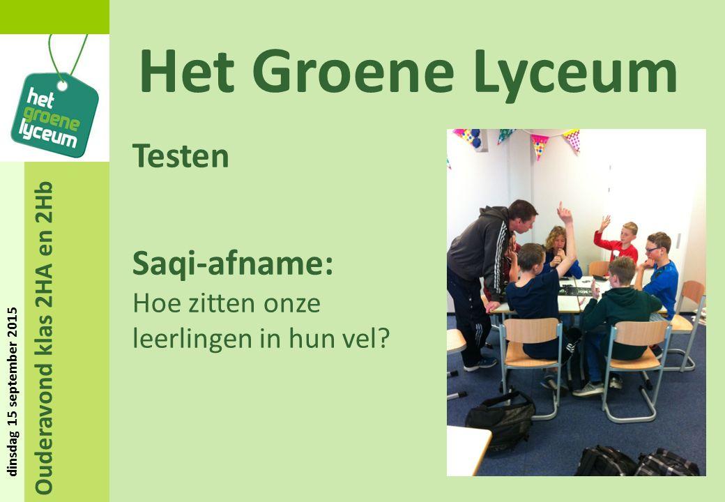 Ouderavond klas 2HA en 2Hb dinsdag 15 september 2015 Het Groene Lyceum Testen Saqi-afname: Hoe zitten onze leerlingen in hun vel