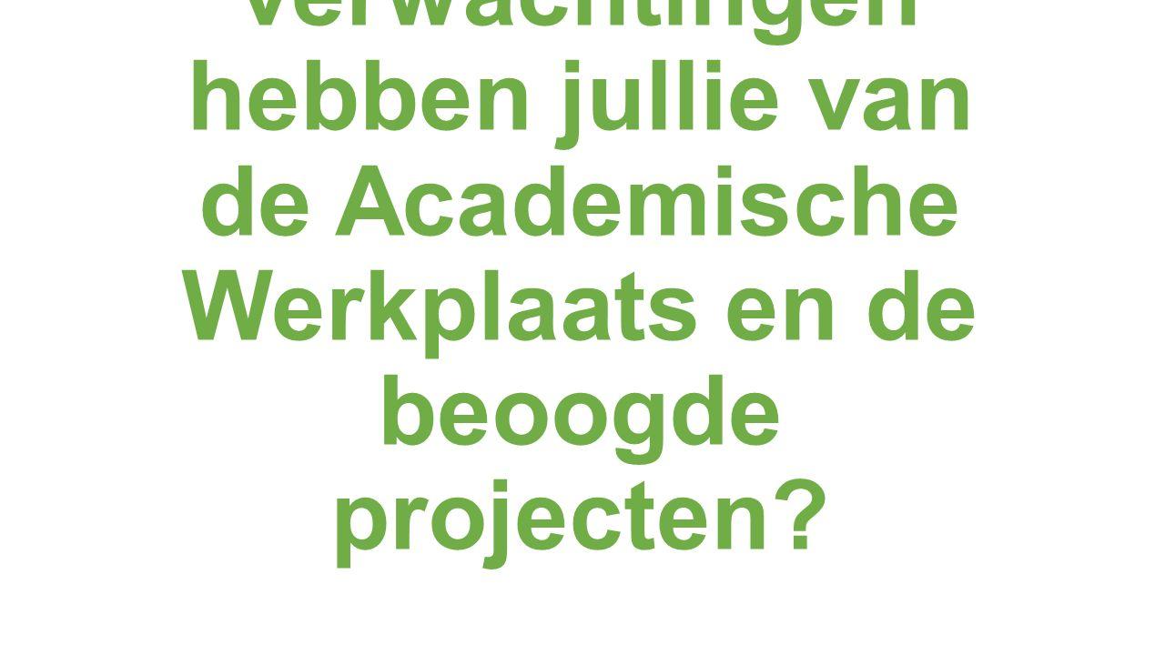 Welke verwachtingen hebben jullie van de Academische Werkplaats en de beoogde projecten