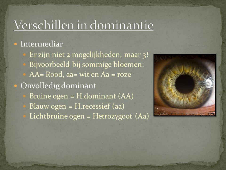Intermediar Er zijn niet 2 mogelijkheden, maar 3! Bijvoorbeeld bij sommige bloemen: AA= Rood, aa= wit en Aa = roze Onvolledig dominant Bruine ogen = H