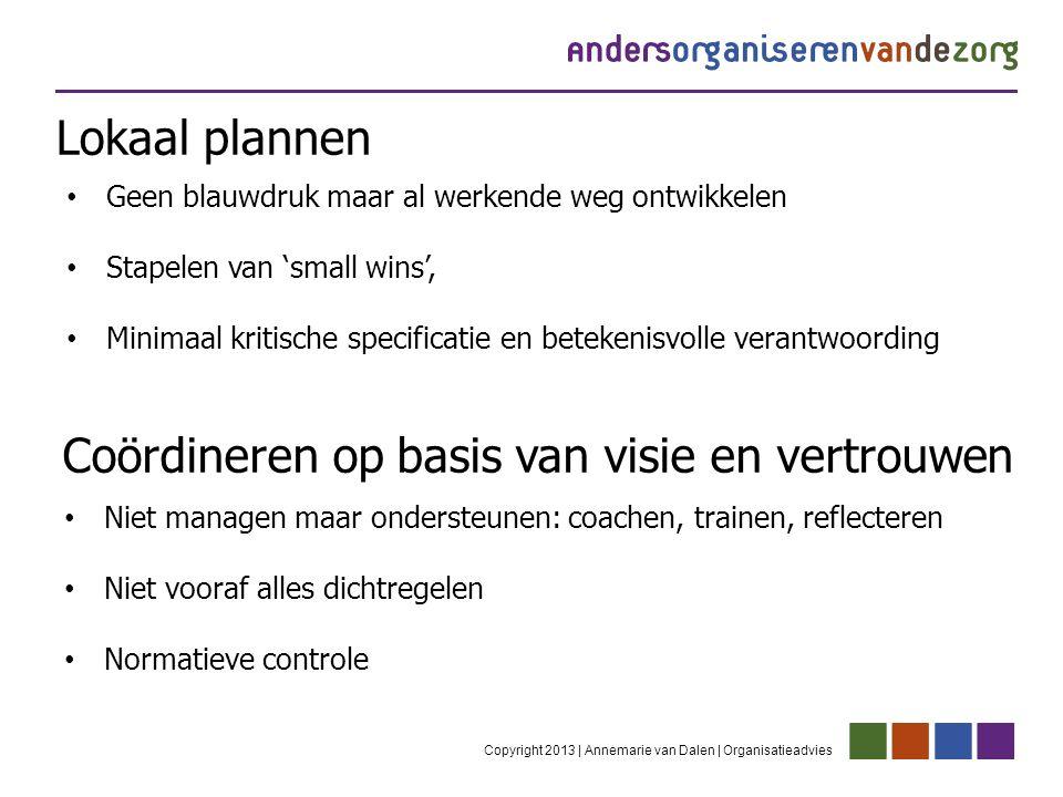 Lokaal plannen Copyright 2013 | Annemarie van Dalen | Organisatieadvies Geen blauwdruk maar al werkende weg ontwikkelen Stapelen van 'small wins', Min