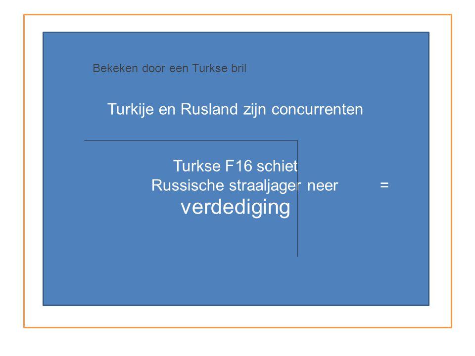 Turkije en Rusland zijn concurrenten Turkse F16 schiet Russische straaljager neer = verdediging Bekeken door een Turkse bril