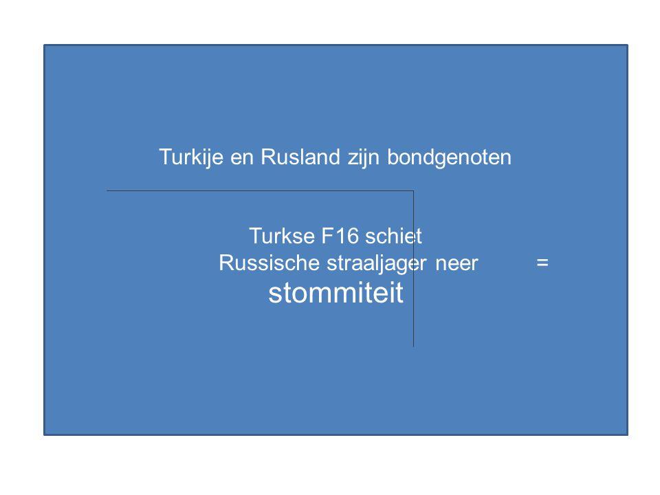 Turkije en Rusland zijn bondgenoten Turkse F16 schiet Russische straaljager neer = stommiteit