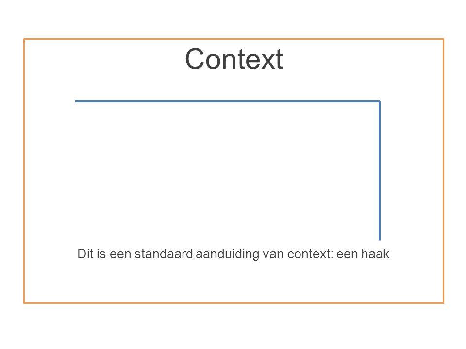 Context Dit is een standaard aanduiding van context: een haak