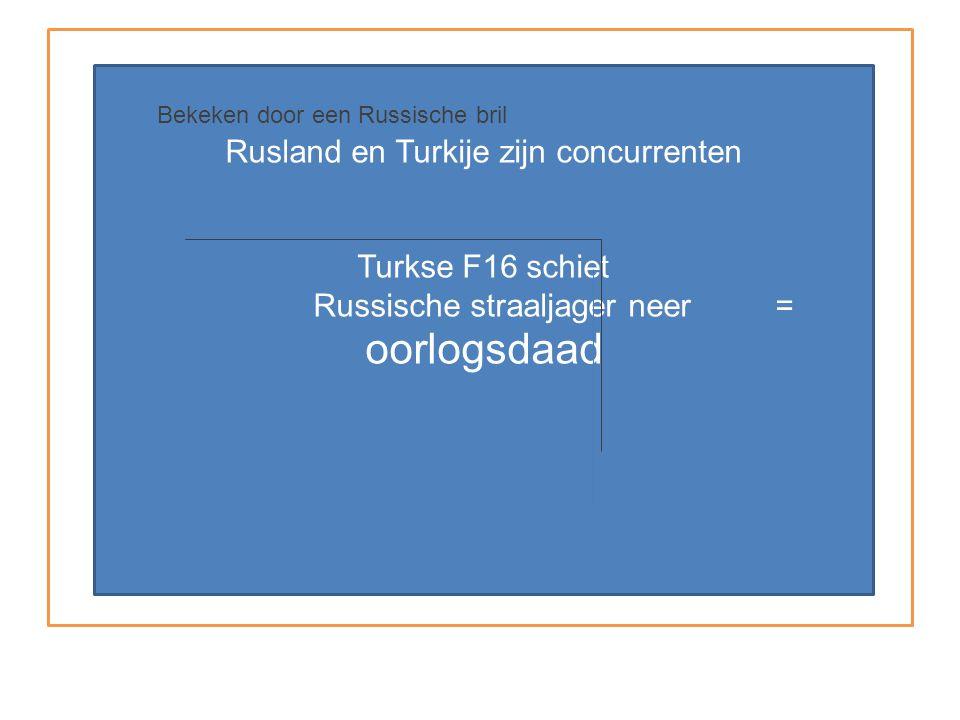 Rusland en Turkije zijn concurrenten Turkse F16 schiet Russische straaljager neer = oorlogsdaad Bekeken door een Russische bril