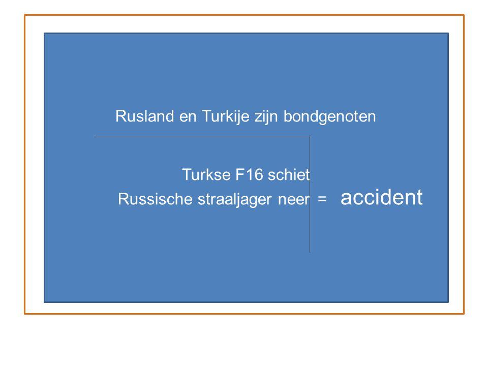 Rusland en Turkije zijn bondgenoten Turkse F16 schiet Russische straaljager neer = accident