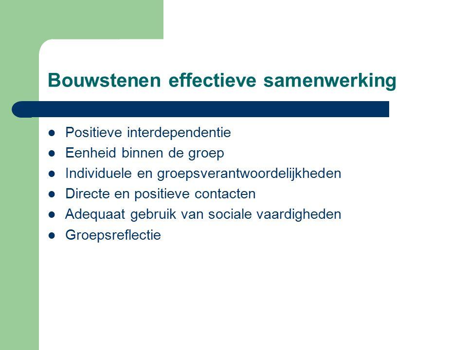 Bouwstenen effectieve samenwerking Positieve interdependentie Eenheid binnen de groep Individuele en groepsverantwoordelijkheden Directe en positieve