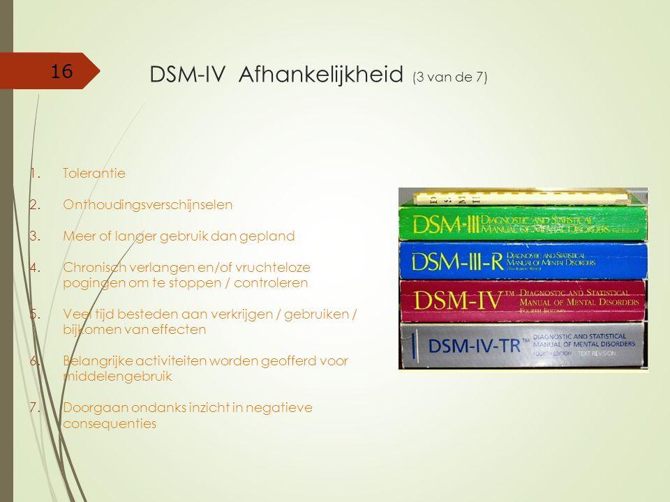 DSM-IV Afhankelijkheid (3 van de 7) 1.Tolerantie 2.Onthoudingsverschijnselen 3.Meer of langer gebruik dan gepland 4.Chronisch verlangen en/of vruchtel