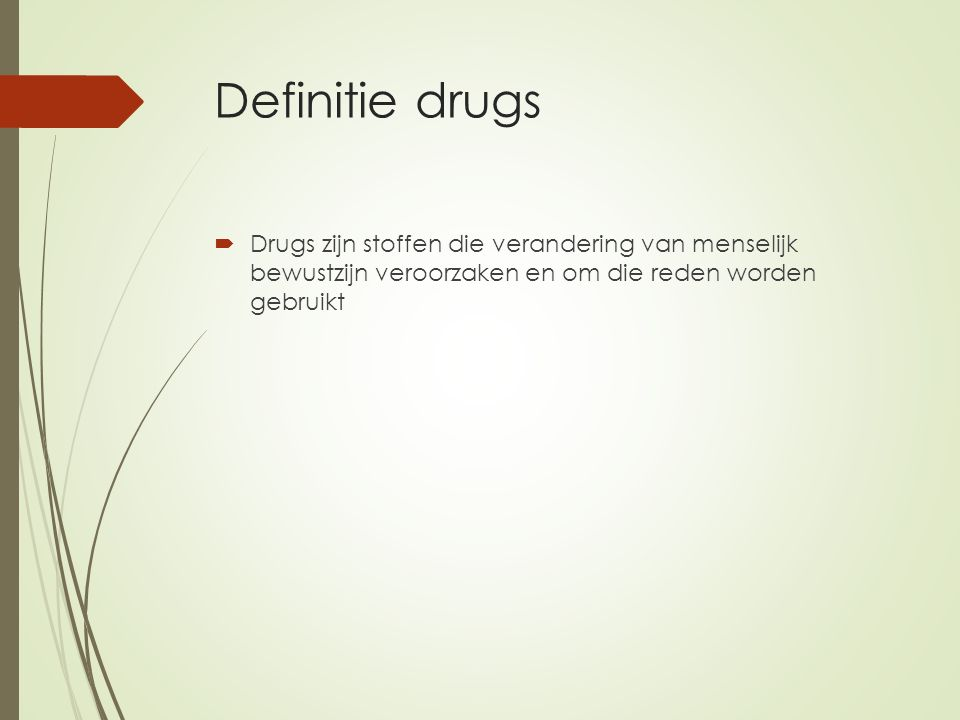 Indeling van drugs  Dempende werking (verdovend: morfine, heroïne, methadon)  Opwekkende werking (stimulerend: speed, cocaïne)  Hallucinogeen/bewustzijnsveranderend (tripmiddelen: LSD, mescaline, psilocybine): je ziet dingen die er niet zijn