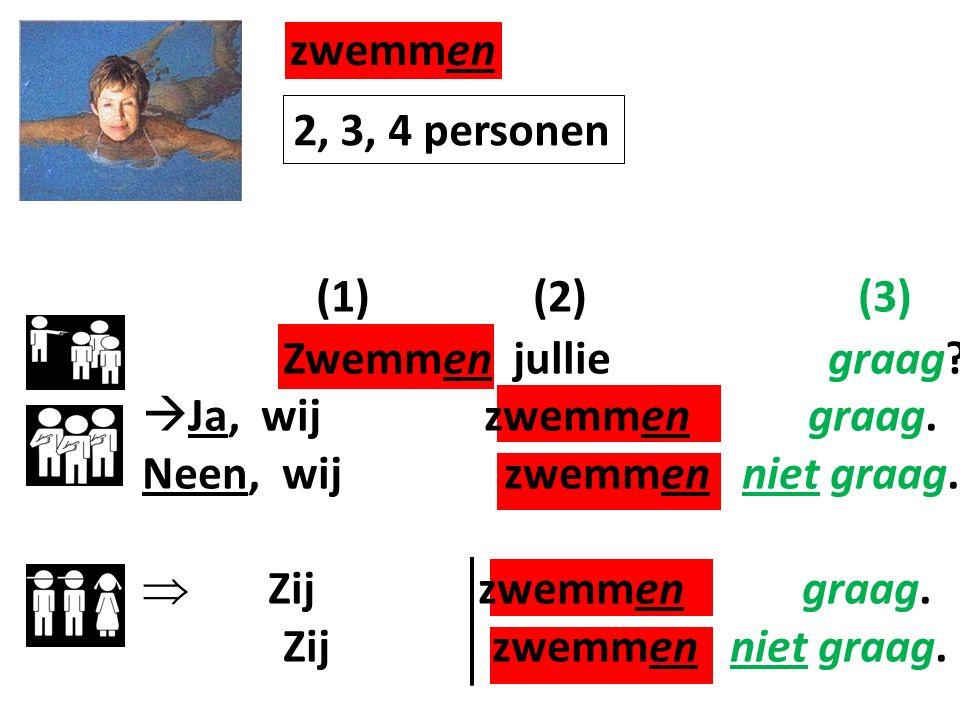 zwemmen (1) (2) (3) Zwemmen jullie graag. Ja, wij zwemmen graag.