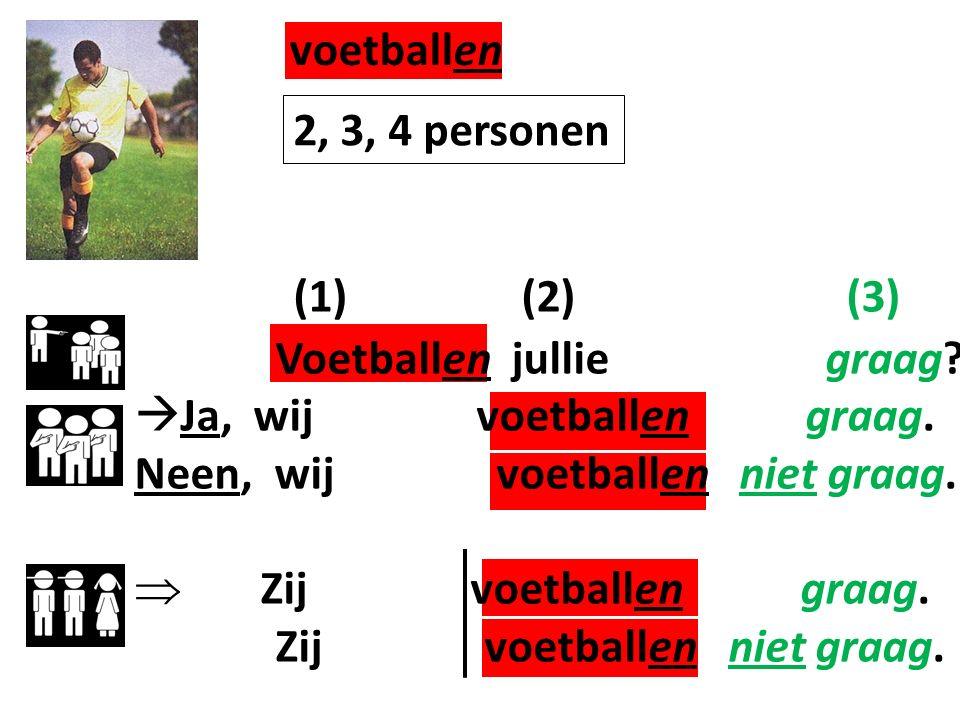 (1) (2) (3) Voetballen jullie graag. Ja, wij voetballen graag.