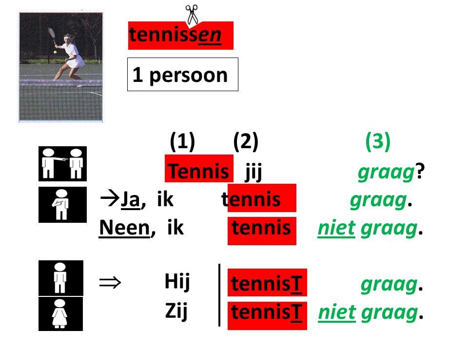 (1) (2) (3) Tennis jij graag. Ja, ik tennis graag.