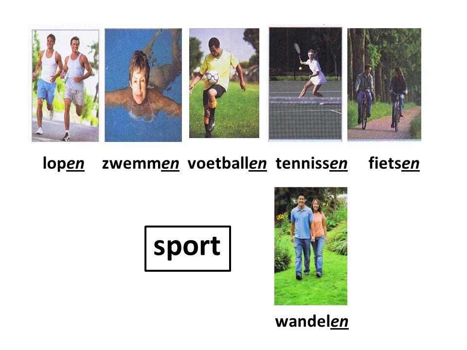 sport lopen zwemmen voetballen tennissen fietsen wandelen