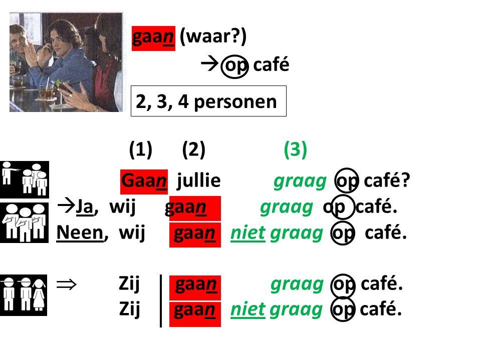 (1) (2) (3) Gaan jullie graag op café. Ja, wij gaan graag op café.