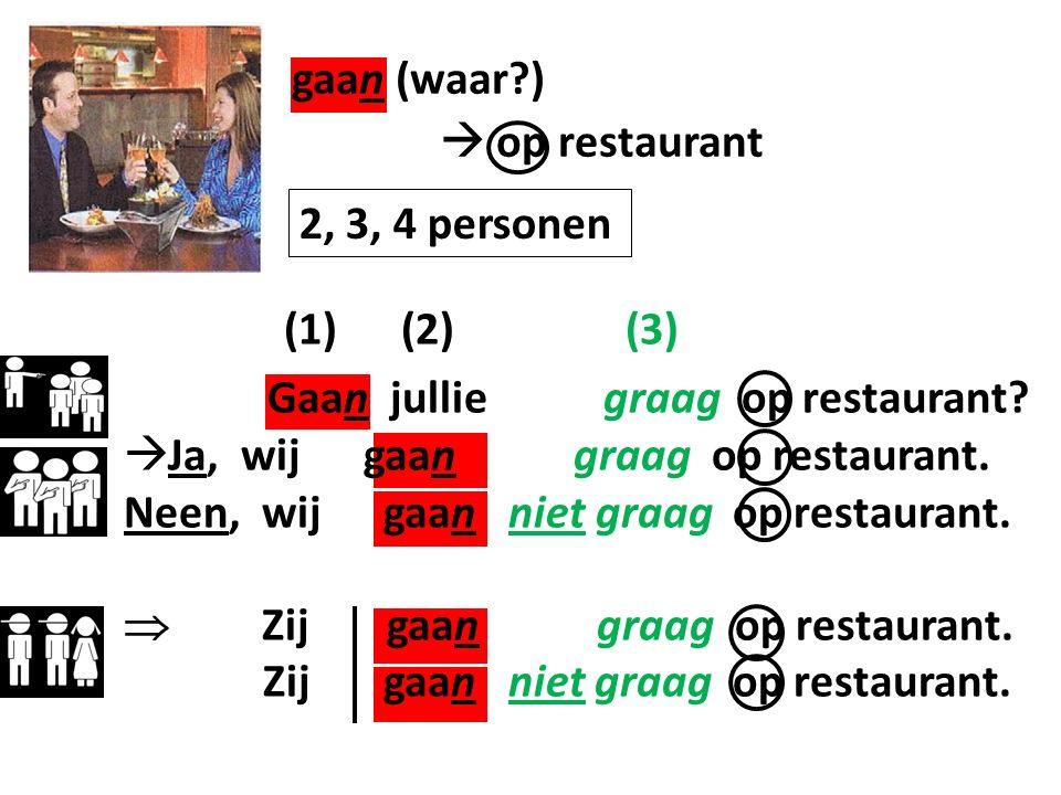 (1) (2) (3) Gaan jullie graag op restaurant. Ja, wij gaan graag op restaurant.