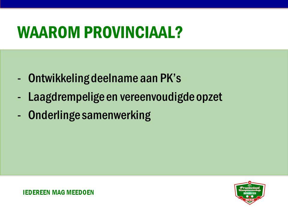 WAAROM PROVINCIAAL? -Ontwikkeling deelname aan PK's -Laagdrempelige en vereenvoudigde opzet -Onderlinge samenwerking IEDEREEN MAG MEEDOEN