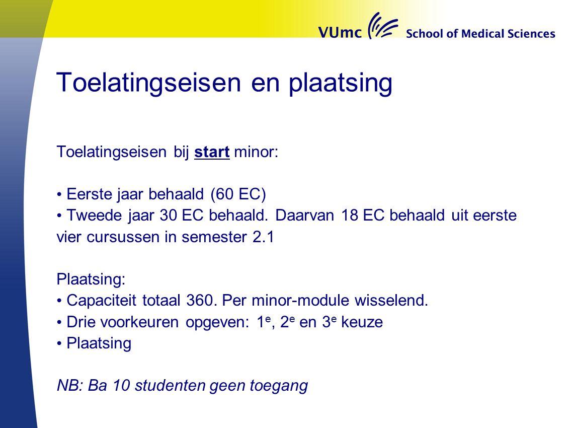 Toelatingseisen en plaatsing Toelatingseisen bij start minor: Eerste jaar behaald (60 EC) Tweede jaar 30 EC behaald.
