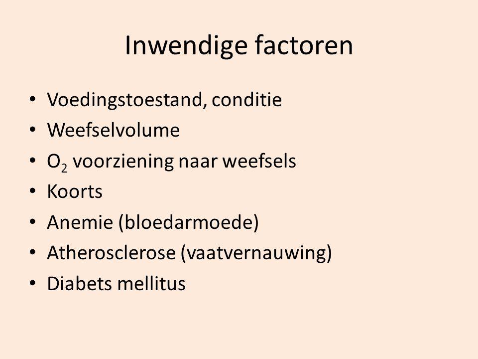 Inwendige factoren Voedingstoestand, conditie Weefselvolume O 2 voorziening naar weefsels Koorts Anemie (bloedarmoede) Atherosclerose (vaatvernauwing)