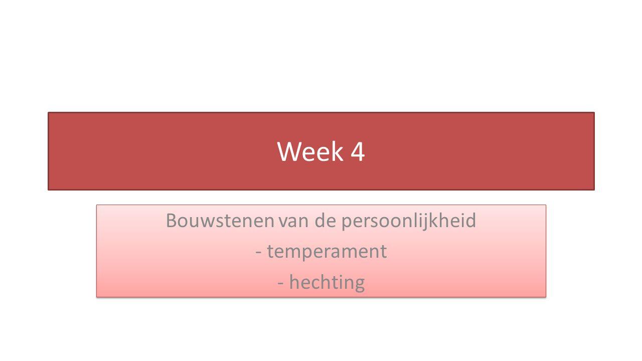 Week 4 Bouwstenen van de persoonlijkheid - temperament - hechting Bouwstenen van de persoonlijkheid - temperament - hechting