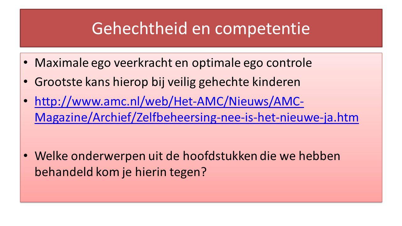 Gehechtheid en competentie Maximale ego veerkracht en optimale ego controle Grootste kans hierop bij veilig gehechte kinderen http://www.amc.nl/web/Het-AMC/Nieuws/AMC- Magazine/Archief/Zelfbeheersing-nee-is-het-nieuwe-ja.htm http://www.amc.nl/web/Het-AMC/Nieuws/AMC- Magazine/Archief/Zelfbeheersing-nee-is-het-nieuwe-ja.htm Welke onderwerpen uit de hoofdstukken die we hebben behandeld kom je hierin tegen.