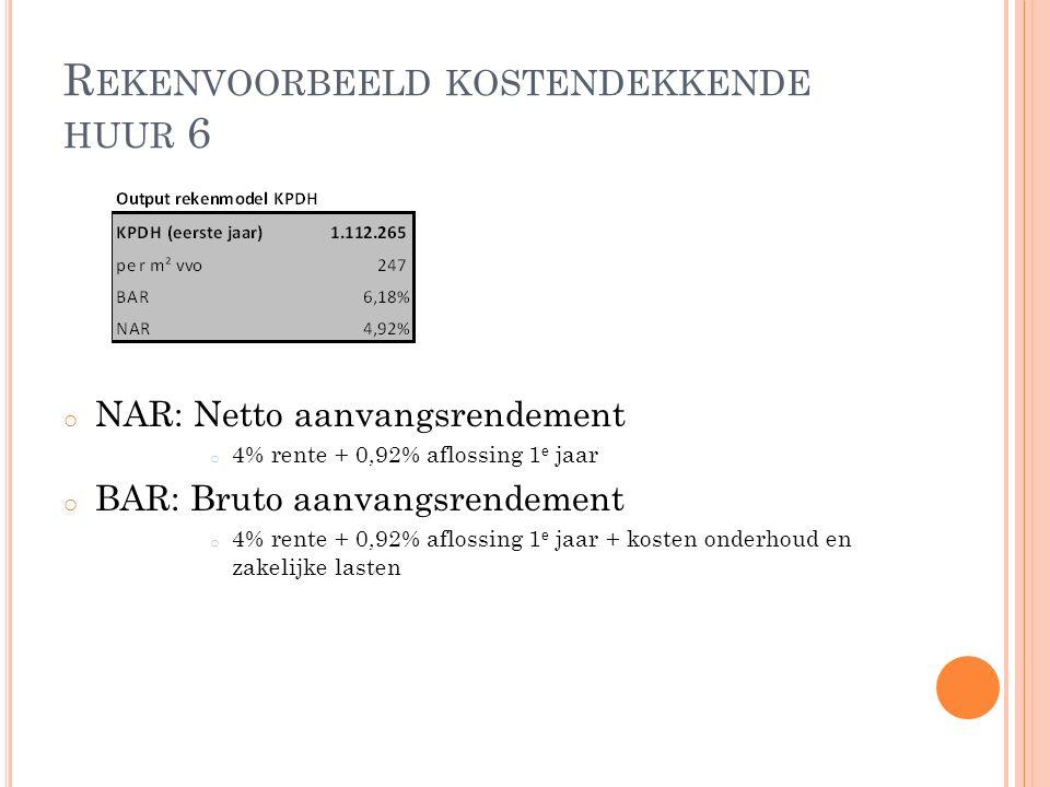 R EKENVOORBEELD KOSTENDEKKENDE HUUR 6 o NAR: Netto aanvangsrendement o 4% rente + 0,92% aflossing 1 e jaar o BAR: Bruto aanvangsrendement o 4% rente + 0,92% aflossing 1 e jaar + kosten onderhoud en zakelijke lasten