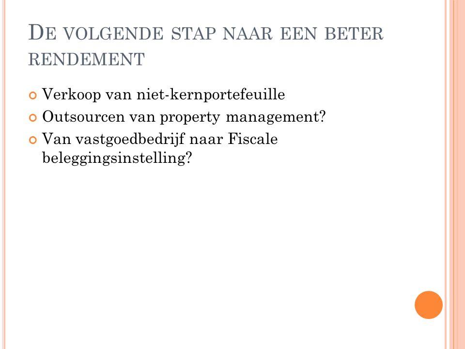 D E VOLGENDE STAP NAAR EEN BETER RENDEMENT Verkoop van niet-kernportefeuille Outsourcen van property management.