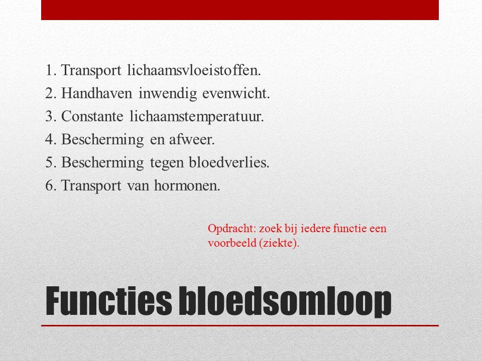 Functies bloedsomloop 1. Transport lichaamsvloeistoffen. 2. Handhaven inwendig evenwicht. 3. Constante lichaamstemperatuur. 4. Bescherming en afweer.