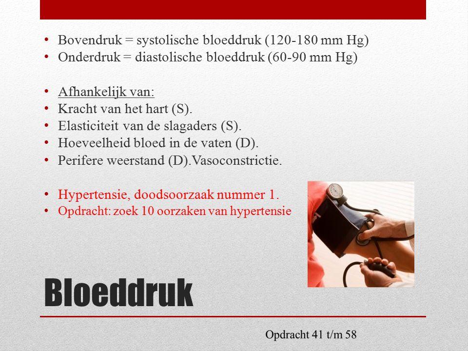Bloeddruk Bovendruk = systolische bloeddruk (120-180 mm Hg) Onderdruk = diastolische bloeddruk (60-90 mm Hg) Afhankelijk van: Kracht van het hart (S).