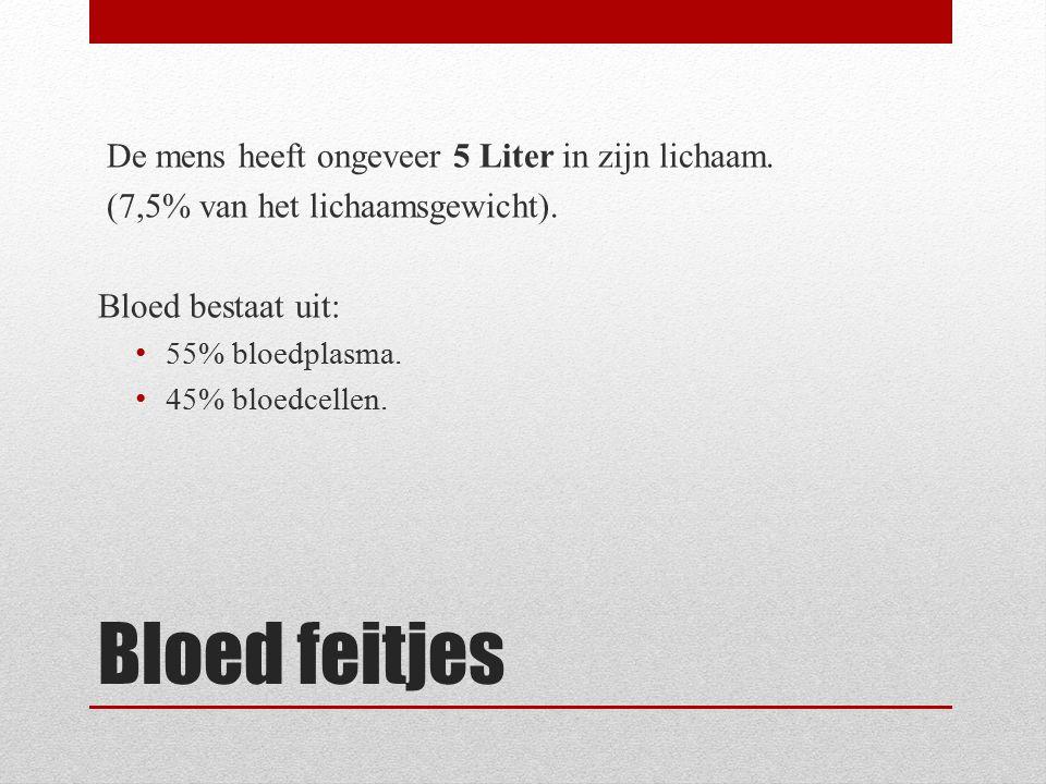 Bloed feitjes De mens heeft ongeveer 5 Liter in zijn lichaam. (7,5% van het lichaamsgewicht). Bloed bestaat uit: 55% bloedplasma. 45% bloedcellen.