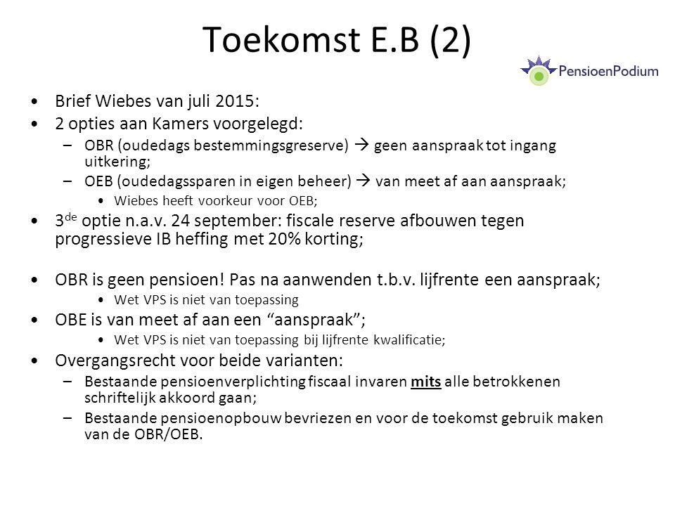 Toekomst E.B (2) Brief Wiebes van juli 2015: 2 opties aan Kamers voorgelegd: –OBR (oudedags bestemmingsgreserve)  geen aanspraak tot ingang uitkering; –OEB (oudedagssparen in eigen beheer)  van meet af aan aanspraak; Wiebes heeft voorkeur voor OEB; 3 de optie n.a.v.