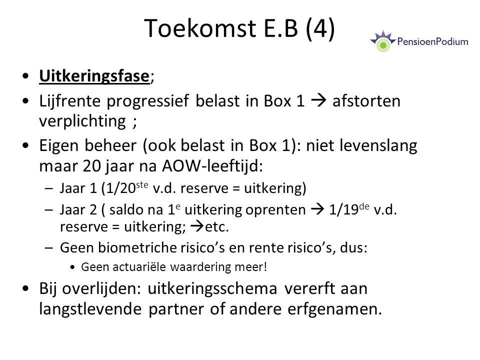 Toekomst E.B (4) Uitkeringsfase; Lijfrente progressief belast in Box 1  afstorten verplichting ; Eigen beheer (ook belast in Box 1): niet levenslang maar 20 jaar na AOW-leeftijd: –Jaar 1 (1/20 ste v.d.