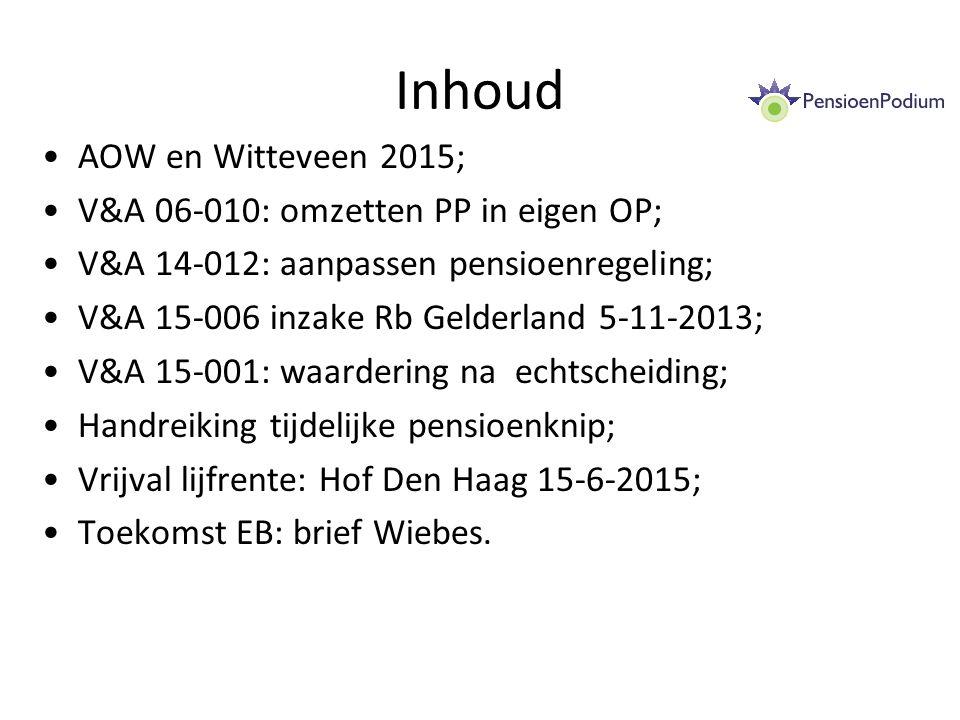 Inhoud AOW en Witteveen 2015; V&A 06-010: omzetten PP in eigen OP; V&A 14-012: aanpassen pensioenregeling; V&A 15-006 inzake Rb Gelderland 5-11-2013; V&A 15-001: waardering na echtscheiding; Handreiking tijdelijke pensioenknip; Vrijval lijfrente: Hof Den Haag 15-6-2015; Toekomst EB: brief Wiebes.