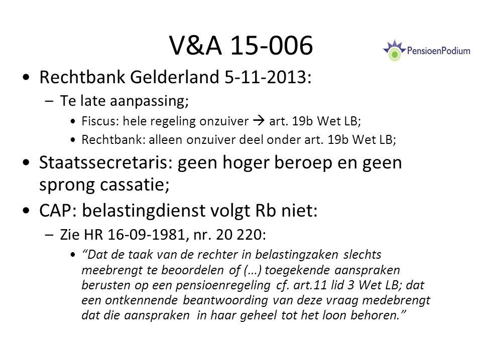 V&A 15-006 Rechtbank Gelderland 5-11-2013: –Te late aanpassing; Fiscus: hele regeling onzuiver  art.