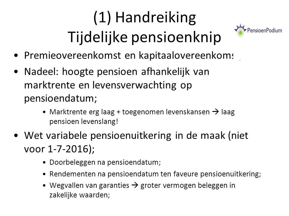 (2) Handreiking Tijdelijke pensioenknip Tijdelijke pensioenknip: –Voorwaarden: Kapitaal of premieovereenkomst (PW) of voor DGA in eigen beheer; Knippen in een tijdelijke uitkering en levenslange vervolguitkering; Ingangsdatum tijdelijke uitkering: voor 1-1-2017; Duur tijdelijke uitkering: maximaal 2 jaar; Partnerpensioen volgt ouderdomspensioen.