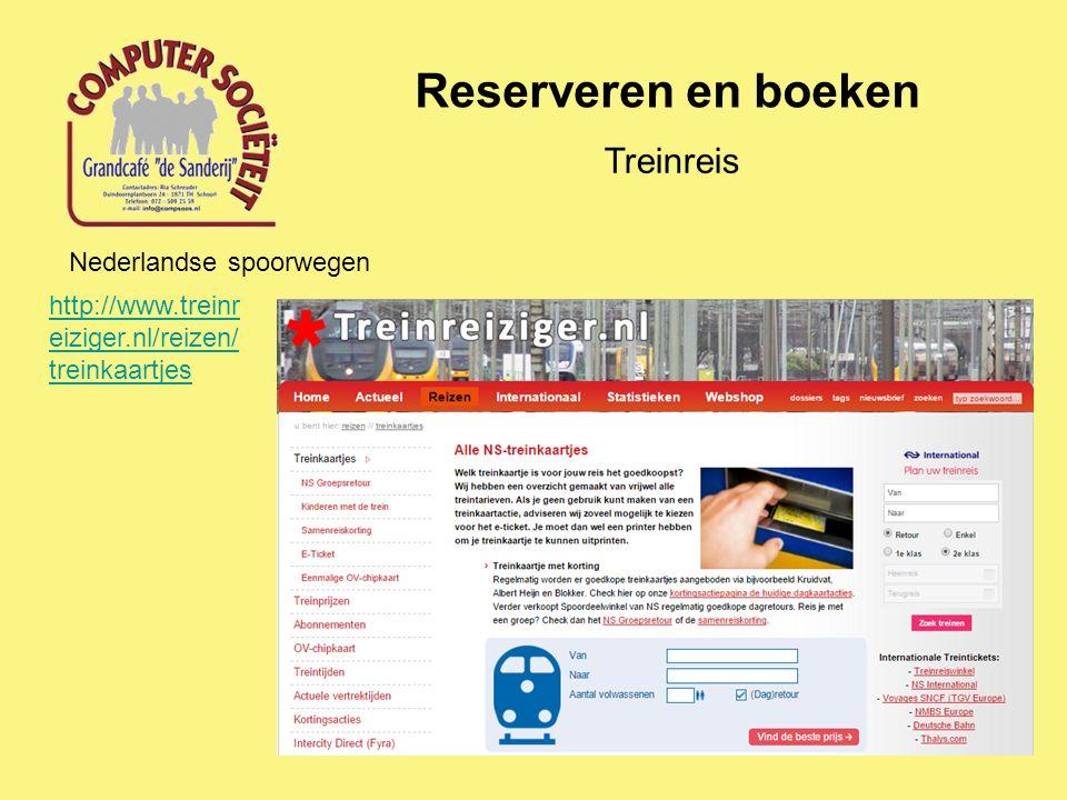Reserveren en boeken Treinreis Nederlandse spoorwegen http://www.treinr eiziger.nl/reizen/ treinkaartjes