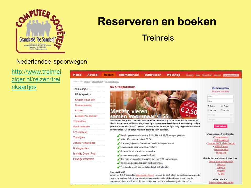 Reserveren en boeken Treinreis Nederlandse spoorwegen http://www.treinrei ziger.nl/reizen/trei nkaartjes