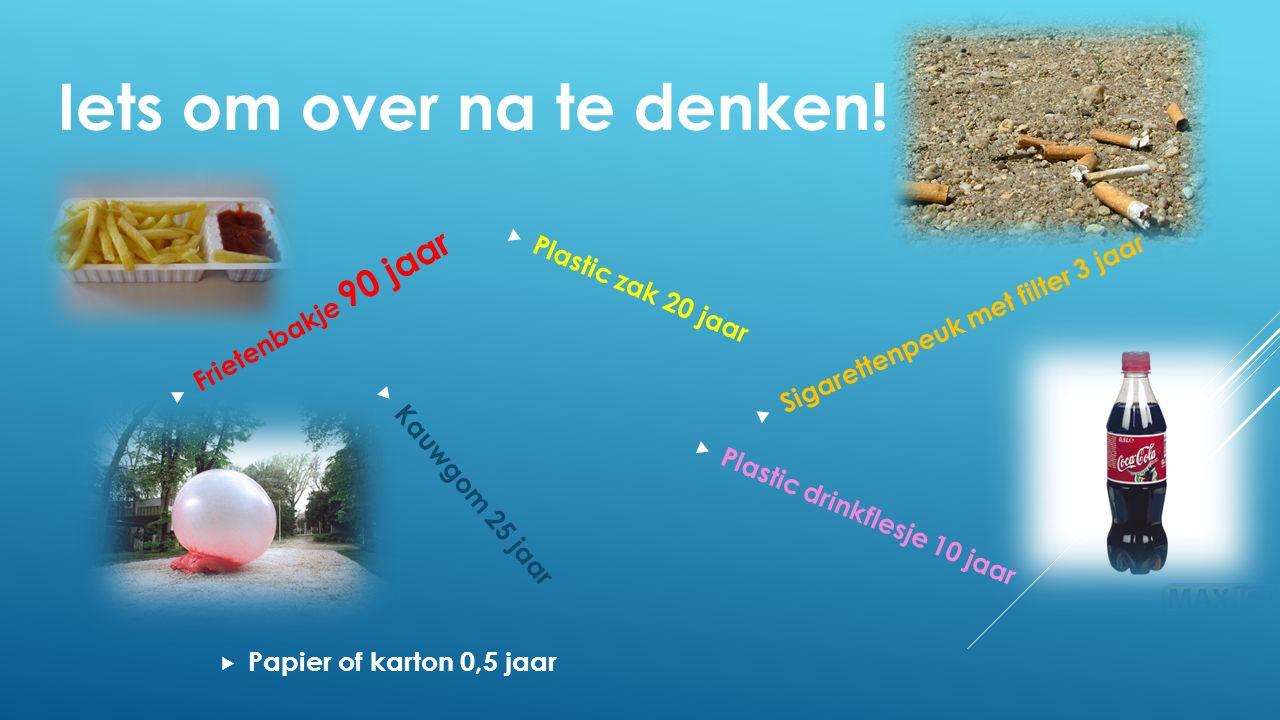  Papier of karton 0,5 jaar  Plastic zak 20 jaar  Kauwgom 25 jaar  Sigarettenpeuk met filter 3 jaar  Frietenbakje 90 jaar  Plastic drinkflesje 10