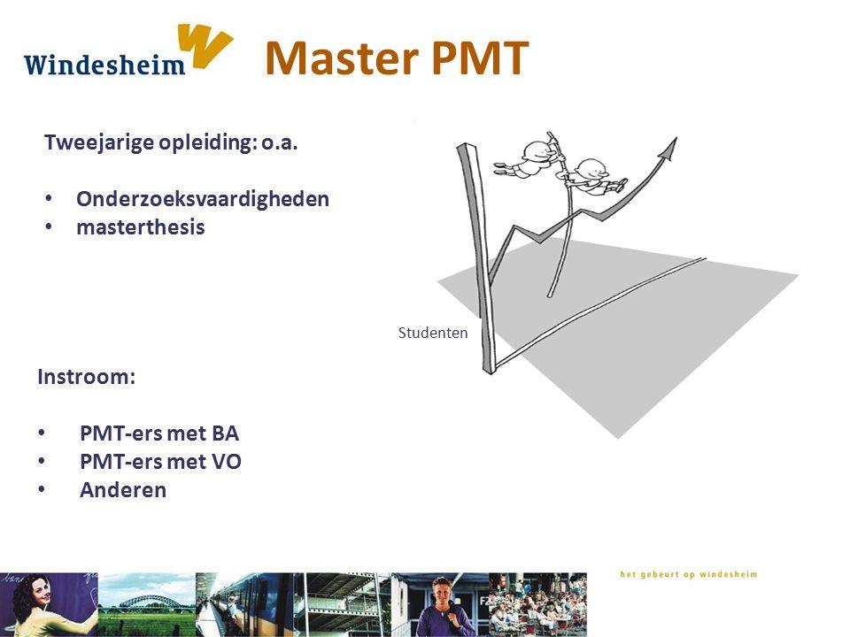 Master PMT Studenten Tweejarige opleiding: o.a. Onderzoeksvaardigheden masterthesis Instroom: PMT-ers met BA PMT-ers met VO Anderen