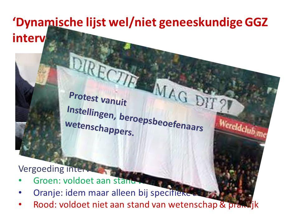 'Dynamische lijst wel/niet geneeskundige GGZ interventies' Vergoeding interventies afhankelijk van Groen: voldoet aan stand van wetenschap & praktijk Oranje: idem maar alleen bij specifieke aandoeningen Rood: voldoet niet aan stand van wetenschap & praktijk