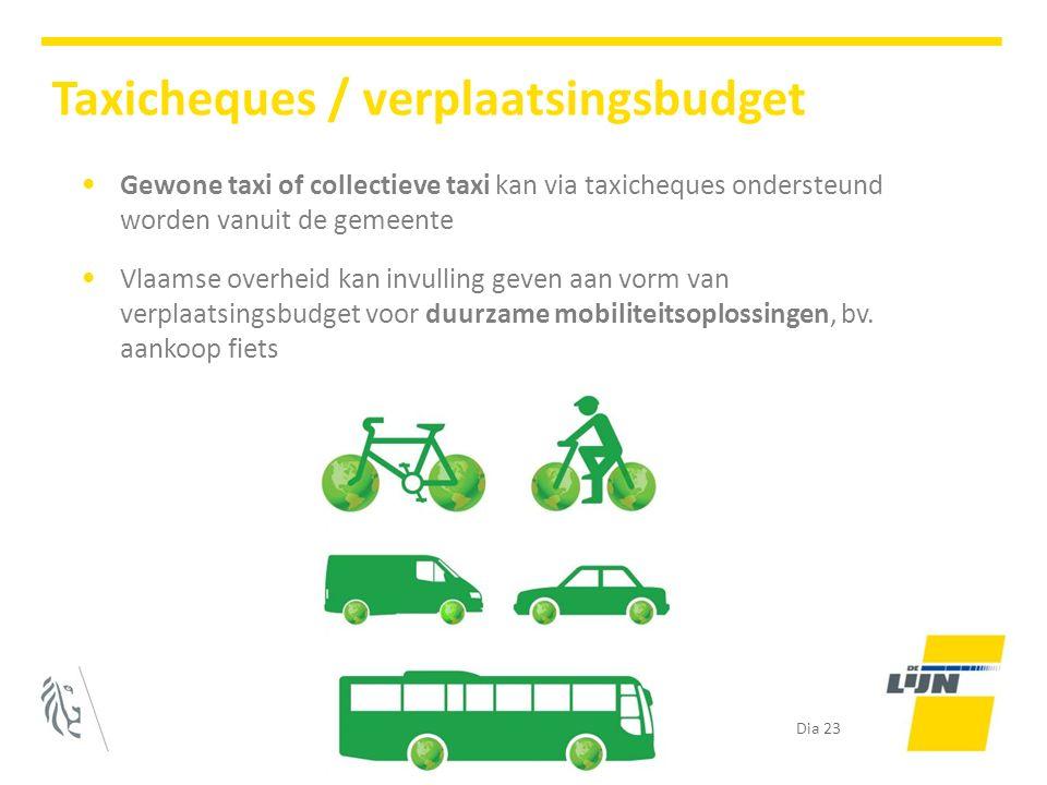 Gewone taxi of collectieve taxi kan via taxicheques ondersteund worden vanuit de gemeente Vlaamse overheid kan invulling geven aan vorm van verplaatsingsbudget voor duurzame mobiliteitsoplossingen, bv.