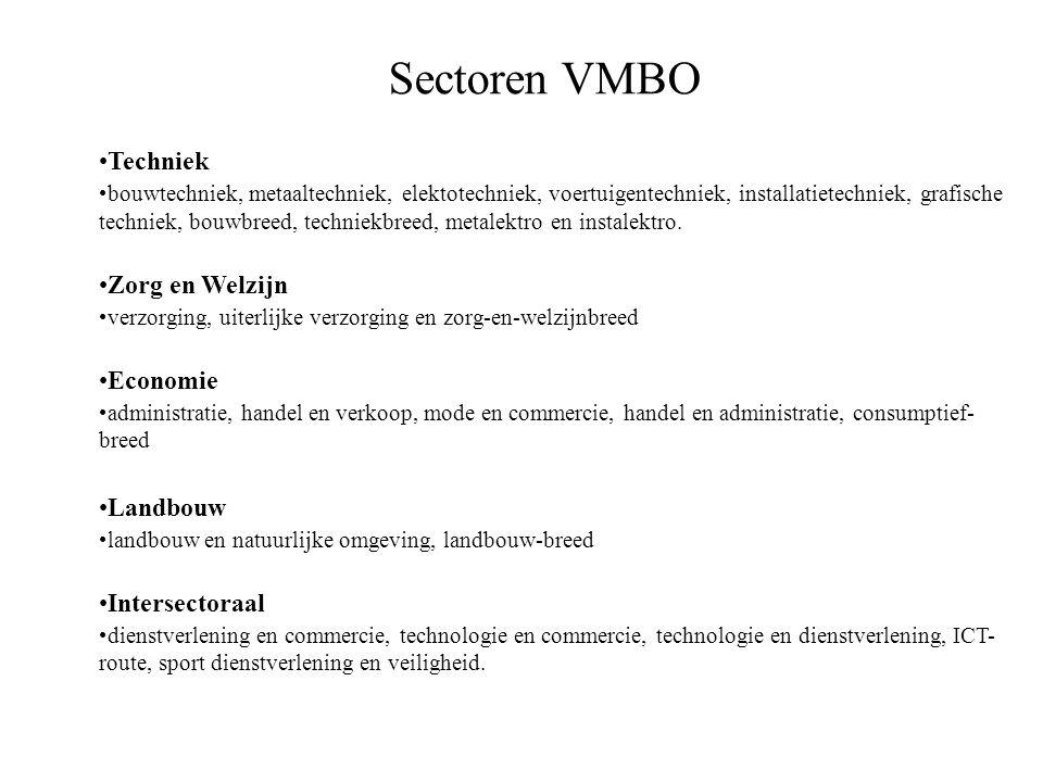 Sectoren VMBO Techniek bouwtechniek, metaaltechniek, elektotechniek, voertuigentechniek, installatietechniek, grafische techniek, bouwbreed, techniekb