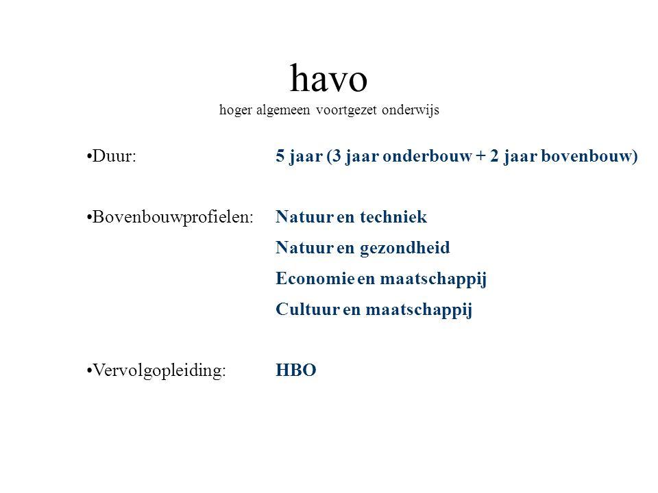 havo hoger algemeen voortgezet onderwijs Duur: Bovenbouwprofielen: Vervolgopleiding: 5 jaar (3 jaar onderbouw + 2 jaar bovenbouw) Natuur en techniek N