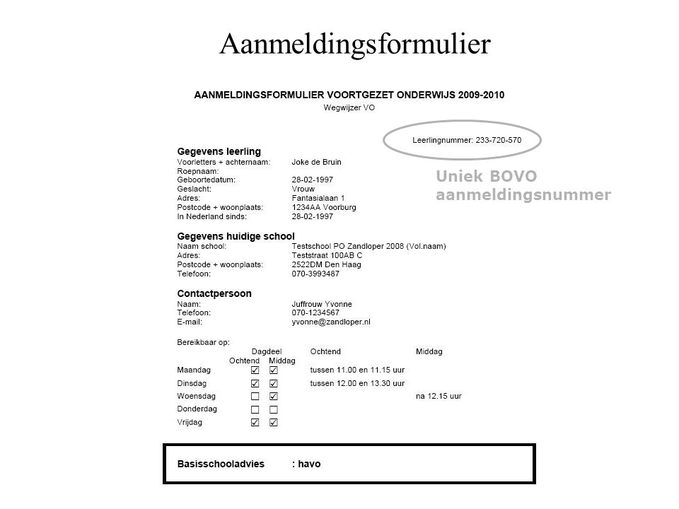 Aanmeldingsformulier Uniek BOVO aanmeldingsnummer