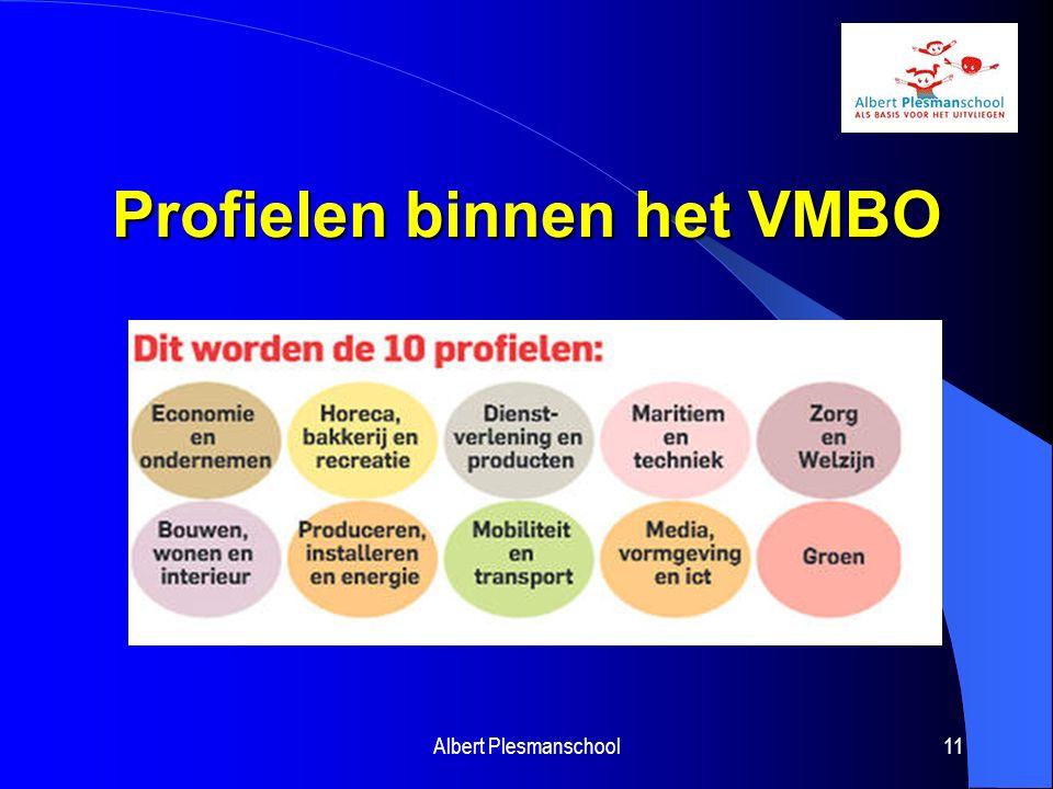 Hoger Algemeen Voortgezet Onderwijs HAVO Voorbereiding op het hoger beroepsonderwijs Na het derde jaar wordt een profiel gekozen Albert Plesmanschool12