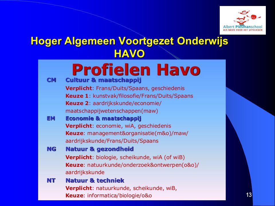 Hoger Algemeen Voortgezet Onderwijs HAVO Hoger Algemeen Voortgezet Onderwijs HAVO Bovenbouw Meer verantwoording voor eigen leerproces Actief en zelfstandig leren Albert Plesmanschool14