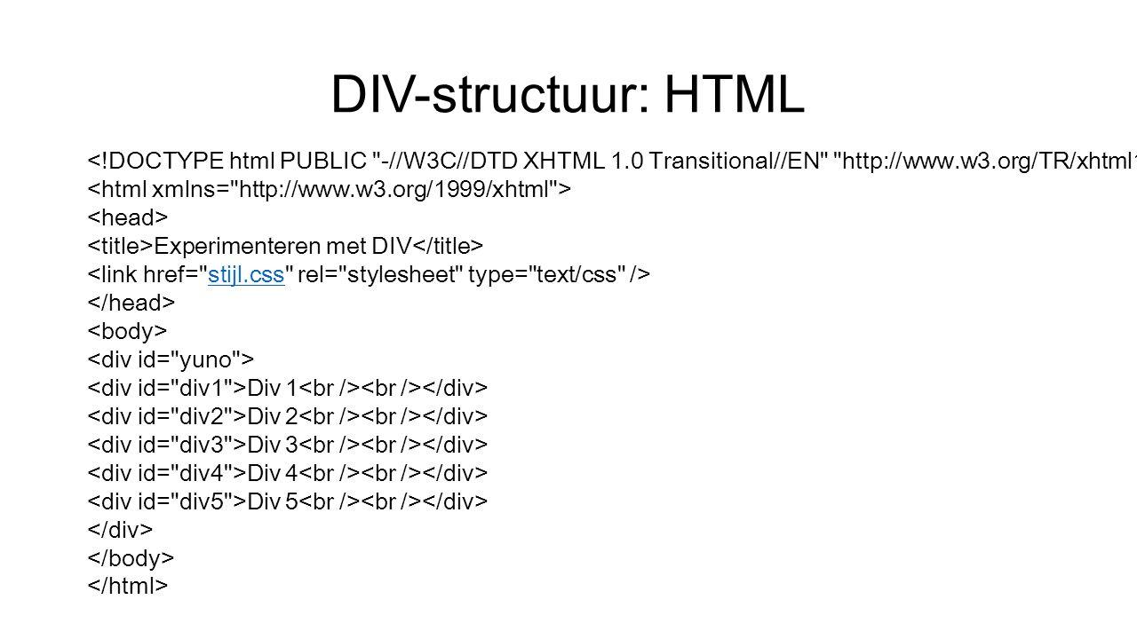 DIV-structuur: HTML Experimenteren met DIV stijl.css Div 1 Div 2 Div 3 Div 4 Div 5