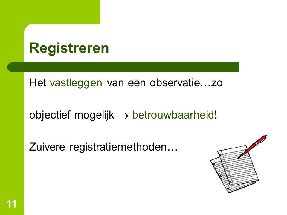 11 Registreren Het vastleggen van een observatie…zo objectief mogelijk  betrouwbaarheid! Zuivere registratiemethoden…